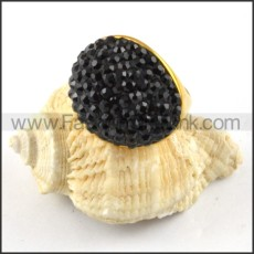 Stainless Steel Black Zircon Ring r000215