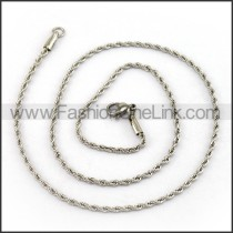 Twisted Rope Silver Stamping Necklace n001214