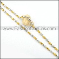 Golden and Silver Interlocking Chain Plated Necklace   n000081