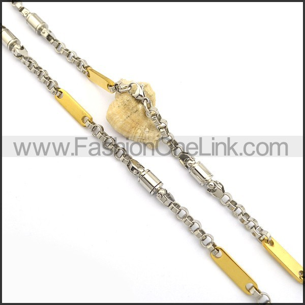 Exquisite Gold and Silver Plated Necklace n000777