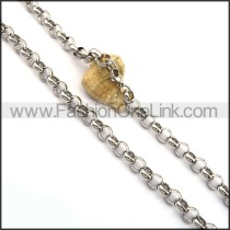 Circle Ring Chain Stamping Necklace n001024