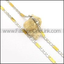 Flat Interlocking Rectangle Plated Necklace n000910