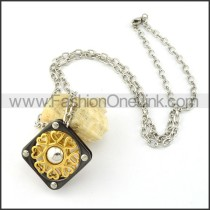 Black and Gold Square  Necklace      n000269