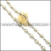 Silver Bead Stamping Necklace n000923