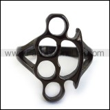 Black Plated Stianless Steel Fist Hollow Ring r003902