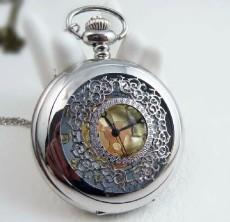 Silver Ornamental Engraving Pocket Watch Chain PW000092