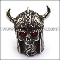 Red Rhinestone Eyes Viking Skull Ring with 2 Horns r003691