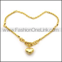Decorous Heart Plated Necklace n001041
