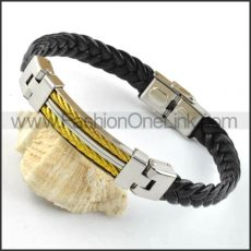 Silver Chain Hasp Black Leather Bracelet b000019