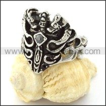 Stainless Steel  Sword Ring with Black Rhinestone r000731