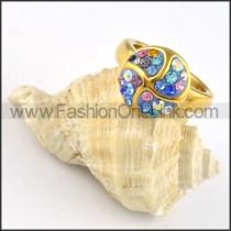 Stainless Steel Blue Purple Rhinestone Pinwheel Ring r000250