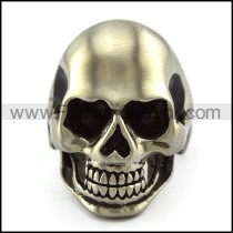 Matt Finished Stainless Steel Skull Ring with Dark Black Rhinestone Eyes r004286