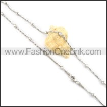 Silver Plated Chain with Silver Beads     n000138