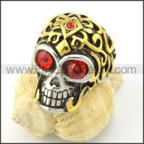 Red Zircon Eyes Skull Ring r001169