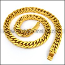 Gold Interlocking Chain Plated Necklace n001232