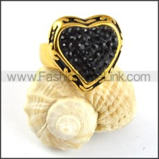 Solid Black Rhinestone Stainless Steel Heart ring  r000205