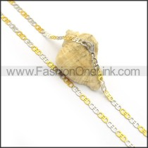 Golden and Silver Flat Chain Plated Necklace n000901