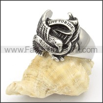 Stainless Steel Eagle Rings with slogan of LIVE TO RIDE r000373