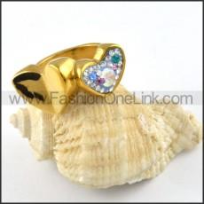 Stainless Steel Heart Linked Heart Ring r000251