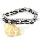 Black and Silver Stainless Steel Biker Bracelet b000609
