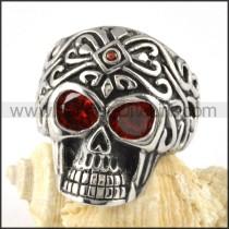 Stainless Steel Red Zircon Eyes Skull Ring r000058