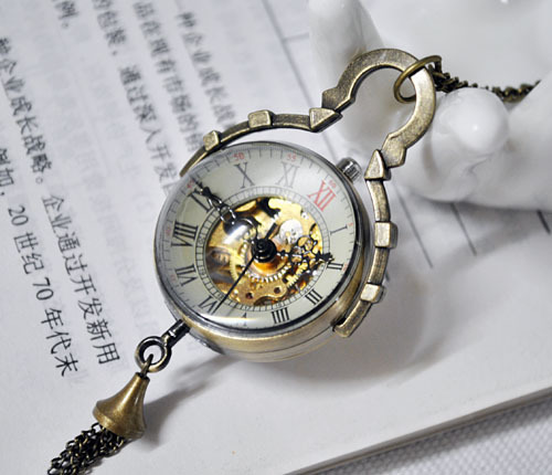 Wholesale Antiqued Brass Glass Skeleton Mechanical Pocket Watch PW000325