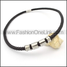 Black Leather Necklace    n000104