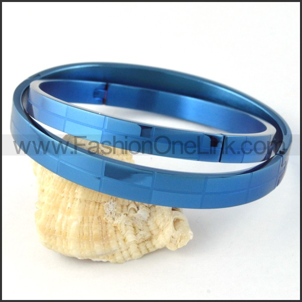 Blue Small Rectangle Design Couple Bangle b000412