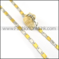 Succinct Two Tone Plated Necklace n000609