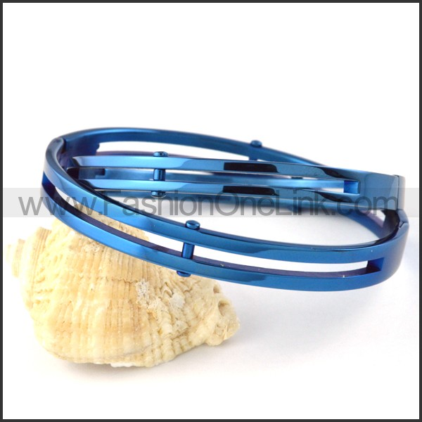 Elegant Blue Plated Couple Bangle b000397