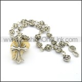 Cross and Casting Flower Necklace n000993