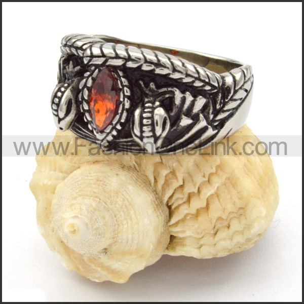 Stainless Steel Vintage Stone Ring r000332