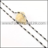 Two Tone Interlocking Chain Plated Necklace   n000078
