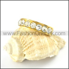 Gold Plating Ring in Stainless Steel with Zircon Stones r000174