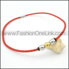 Red Leather Silver Bead  Necklace  n000093