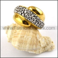 Gold Ring in Stainless Steel with Silver Grey Rhinestone r000198