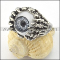 Stainless Steel Prong Setting Eye Ring r001196