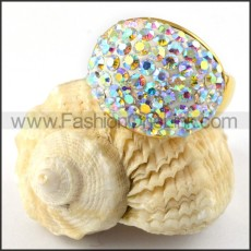 Stainless Steel Colorful Stone Ring r000219