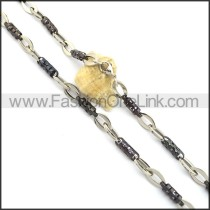 Elegant Black and Silver Plated Necklace n000835