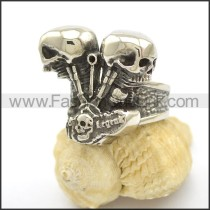 Unique  Stainless Steel Biker  Ring r002449