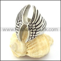 Stainless Steel Double Wing Ring r000643