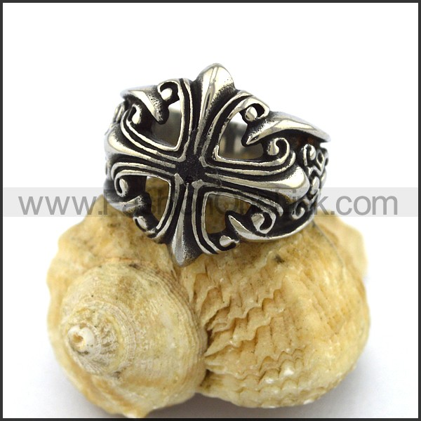 Stainless Steel Cross Ring  r003314