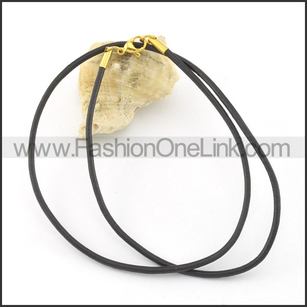 Black Rubber Necklace n000552