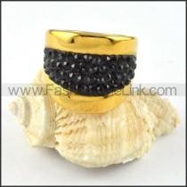 Stainless Steel  Black Rhinestone Ring r000237