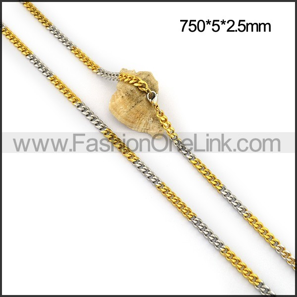 Two Tone Interlocking Chain Plated Necklace n001112