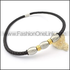 Black Leather Golden and Silver Bead  Necklace   n000095