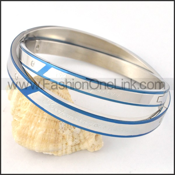 Blue Plated Sides Silver Couple Bangle b000439