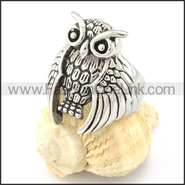 Stainless Steel Owl Ring r000648