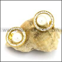 Pearl and Clear Stone Earrings    e001094