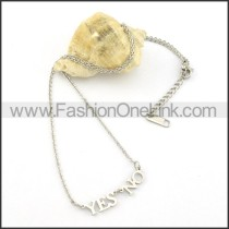 Silver YES NO Fashion Necklace      n000472